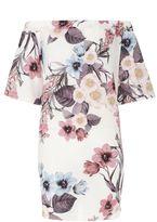 Quiz Cream Floral Print Bardot Tunic Dress