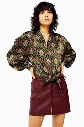 Topshop Womens Monkey Tile Knot Shirt - Multi