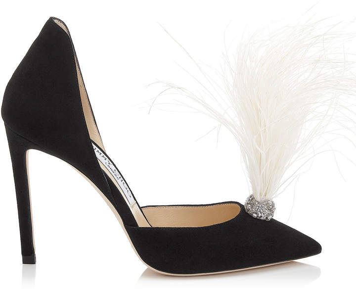 Jimmy Choo LIZ 100 Black Suede Pointy Toe Pumps with Crystals and White Fascinator Feathers