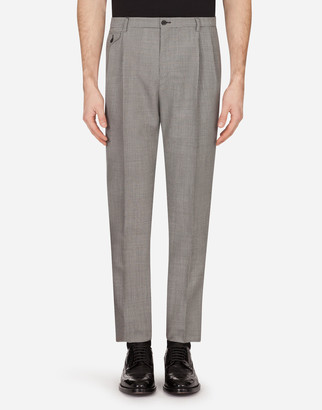 Dolce & Gabbana Micro-Patterned Mohair Wool Pants