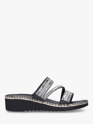 Carvela Comfort Sula Embellished Slide On Sandals, Black Leather