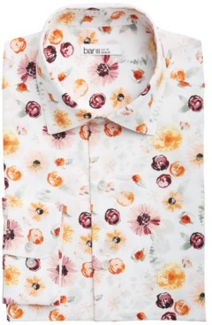 Bar III Men's Slim-Fit Performance Stretch Watercolor Floral-Print Dress Shirt, Created for Macy's