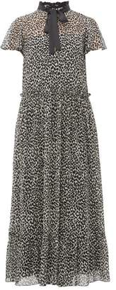 RED Valentino Leopard-print Pussy-bow Chiffon Maxi Dress - Womens - Black White