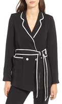 Line & Dot Women's Flora Contrast Piping Belted Blazer