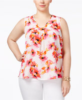 Kasper Plus Size Shirred Top