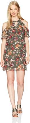Amy Byer A. Byer Women's Printed Cold Shoulder Flutter Sleeve Shift Dress
