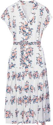Veronica Beard Meagan Floral-print Silk Crepe De Chine Shirt Dress