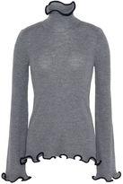 Stella McCartney gray ruffled turtleneck sweater