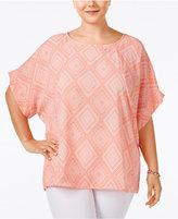 ING Trendy Plus Size Dolman-Sleeve Printed Top