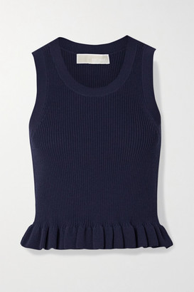 MICHAEL Michael Kors Ruffled Ribbed Stretch-knit Top - Navy