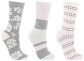 John Lewis Floral Ankle Socks, White/Multi