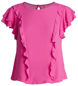 Conquista Frill Detail Short Sleeve Top