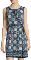 Max Studio Faux-Wrap Print Dress, Navy/Olive