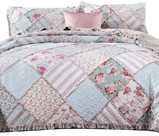 Blue Green Pastel Floral Cotton Patchwork Ruffle Quilted Bedspread Set