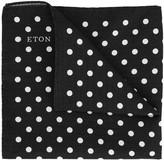 Eton Black Polka-dot Silk Pocket Square