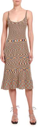 Missoni Optical Zigzag Knit Fitted Midi Dress
