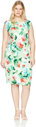 London Times Women's Plus Size Cap Sleeve MIDI Sheath with Side Drap Dress