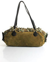 Moschino Cheap & Chic Olive Green Suede Sequin Embellished Casual Hobo Handbag