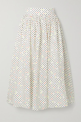 Christopher Kane Polka-dot Cotton And Silk-blend Jacquard Midi Skirt - White