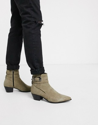 Asos DESIGN cuban heel western chelsea boots in stone suede