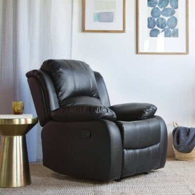 """Thumbnail for your product : Winston Porter Akeem 34"""" Wide Faux Leather Manual Standard Recliner Fabric: Black Faux Leather"""
