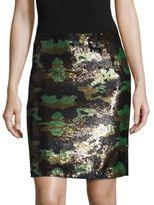 L'Agence Phoebe Metallic Sequined Camo Skirt