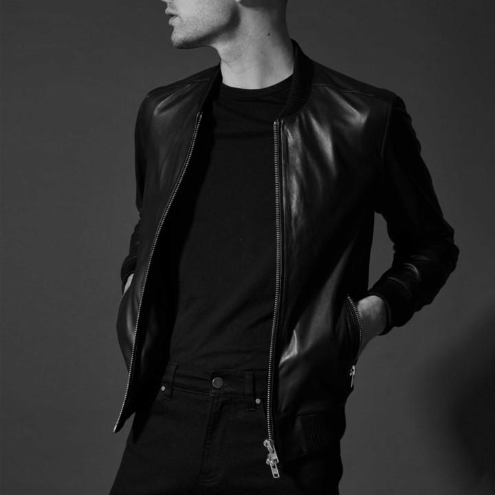 DSTLD Leather Bomber Jacket in Black