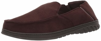 Dearfoams Men's Perforated Microsuede Moccasin with Twin Gore Slipper