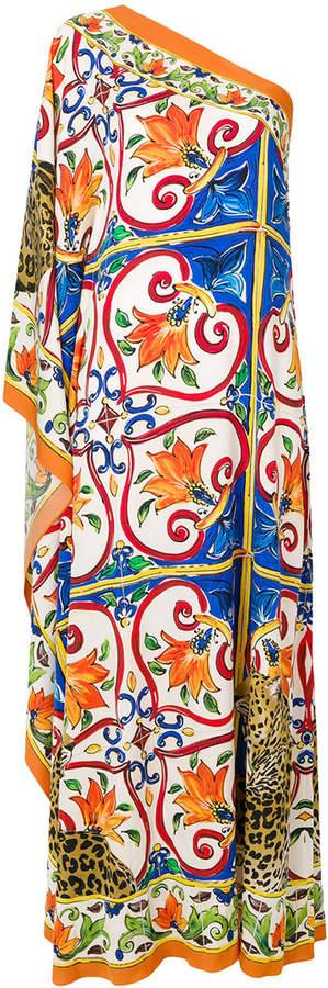 Dolce & Gabbana asymmetric Majolica maxi dress