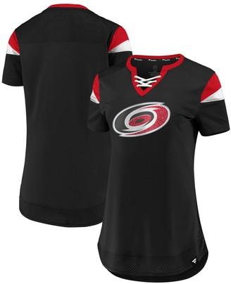 Women's Fanatics Branded Red Carolina Hurricanes Iconic Athena Lace-Up V-Neck T-Shirt