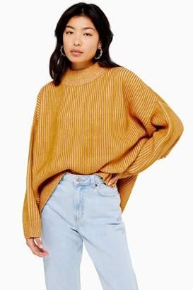 Topshop TALL Mustard Knitted Funnel Neck Jumper