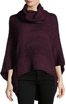 Bishop + Young Cowl-Neck Knit Poncho, Burgundy