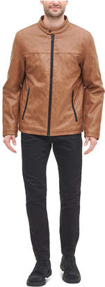 DKNY Men Classic Faux Leather Stand Collar Racer Jacket