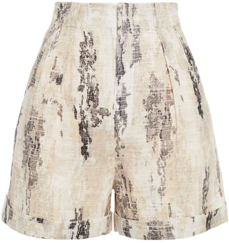 Equipment Pleated Printed Linen Shorts