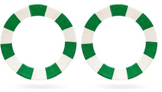 MaryJane Claverol Celene Striped Hoop Earrings - Green