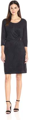 NY Collection Women's Solid 3/4 Sleeve Suede Dress with Trim at Side