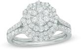 Zales 1 CT. T.W. Composite Diamond Double Frame Bridal Set in 10K White Gold