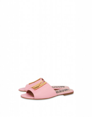 Moschino M Calfskin Sandals Woman Pink Size 36 It - (6 Us)