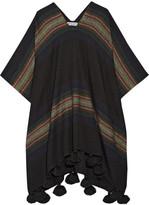 Apiece Apart Serape Tasseled Striped Alpaca-blend Poncho - Black