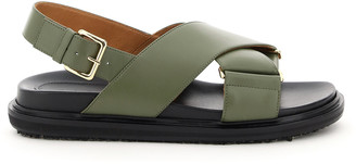 Marni FUSSBETT CALFSKIN SANDALS 36 Green, Black Leather