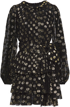 Dolce & Gabbana Polka-dot Metallic Fil Coupe Silk-blend Mini Dress
