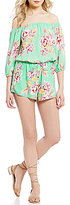 Moa Moa Floral-Printed 3/4 Sleeve Off-The-Shoulder Romper