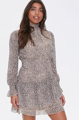 Forever 21 Cheetah Layered-Hem Mini Dress