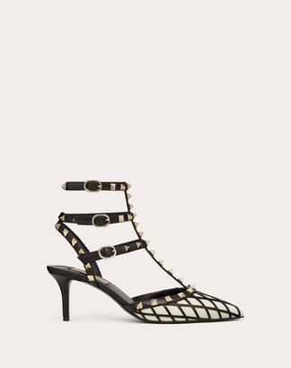 Valentino Rockstud Calfskin Ankle Strap Pump 65 Mm Women Light Ivory/black 100% Pelle Di Vitello - Bos Taurus 35