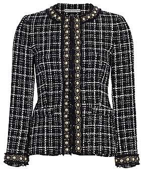 Alice + Olivia Women's Carmen Embellished Tweed Blazer - Size 0