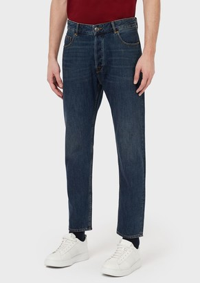 Emporio Armani J77 Tapered Fit Denim Jeans With Visible Stitching