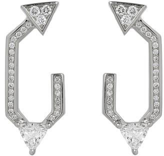 Nikos Koulis V 18k White Gold Diamond Front-Facing Hoop Earrings