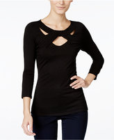 INC International Concepts Three-Quarter-Sleeve Cutout Top, Only at Macy's