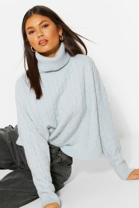 boohoo Soft Knit Cable Roll Neck Crop Jumper