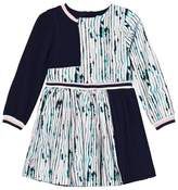 No Added Sugar Lilac and Navy Pleated Long Sleeve Dress